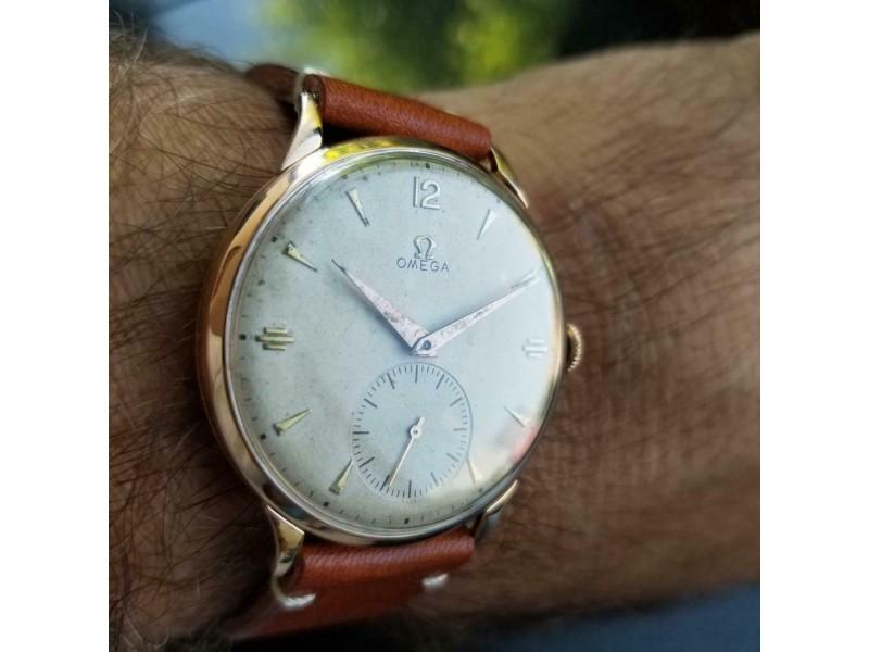 Mens Omega cal.265 37mm 1940s 18k Solid Rose Gold Hand-Wind Swiss Vintage MS177