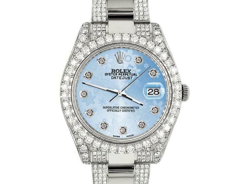Rolex Datejust II 41mm Diamond Bezel/Lugs/Bracelet/Blue Flower Dial Watch