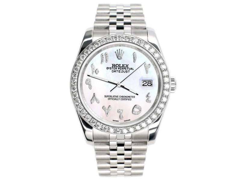 Rolex Datejust 116200 36mm 2ct Diamond Bezel/White Pearl Arabic Dial Steel Watch