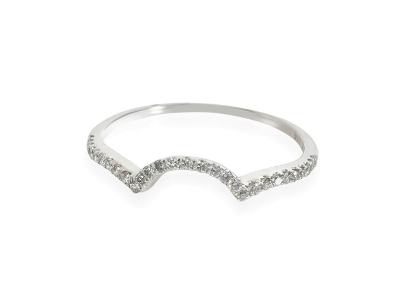 Simon G Curved Wedding Band in 18K White Gold 0.15 CTW