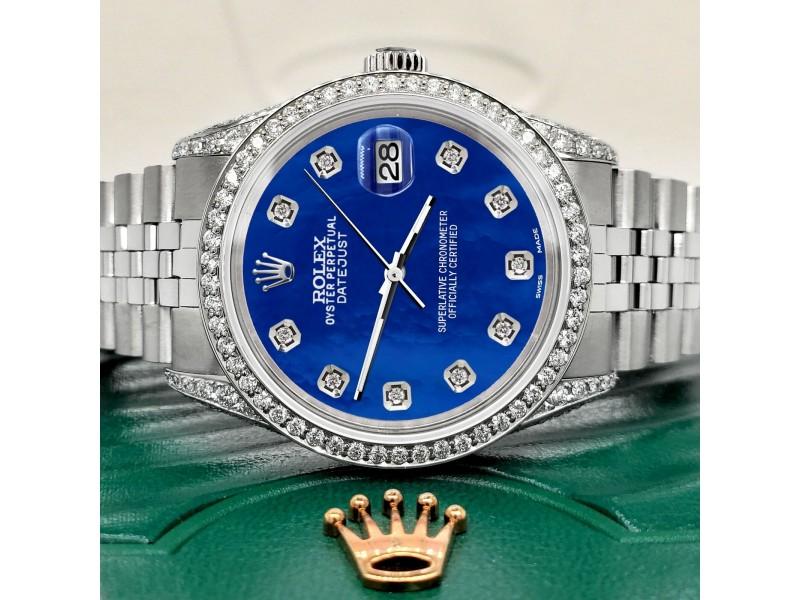 Rolex Datejust 36mm Watch 2.85ct Diamond Bezel/Pave Case/Royal Blue MOP Dial