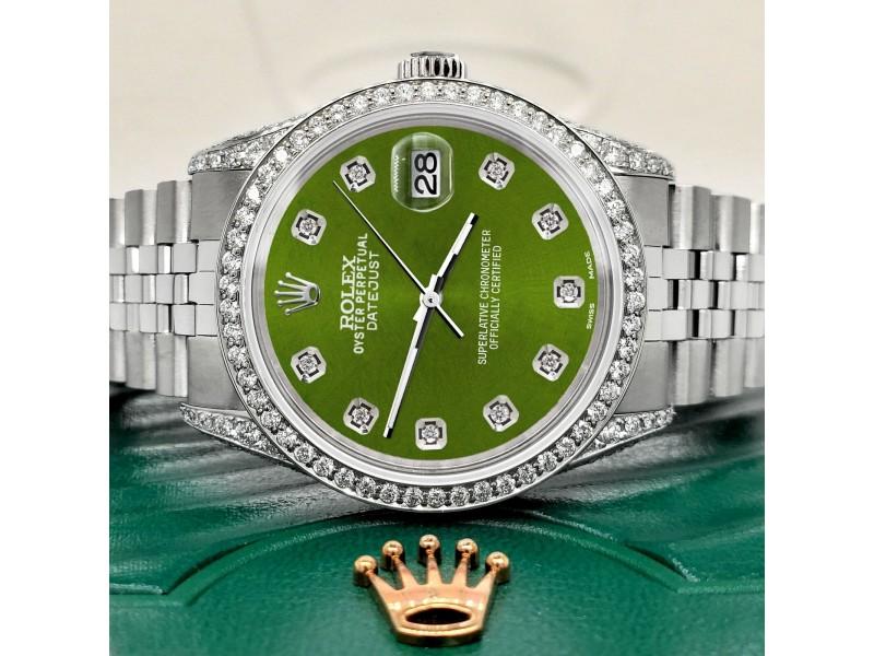 Rolex Datejust 36mm Steel Watch 2.85ct Diamond Bezel/Pave Case/Royal Green Dial