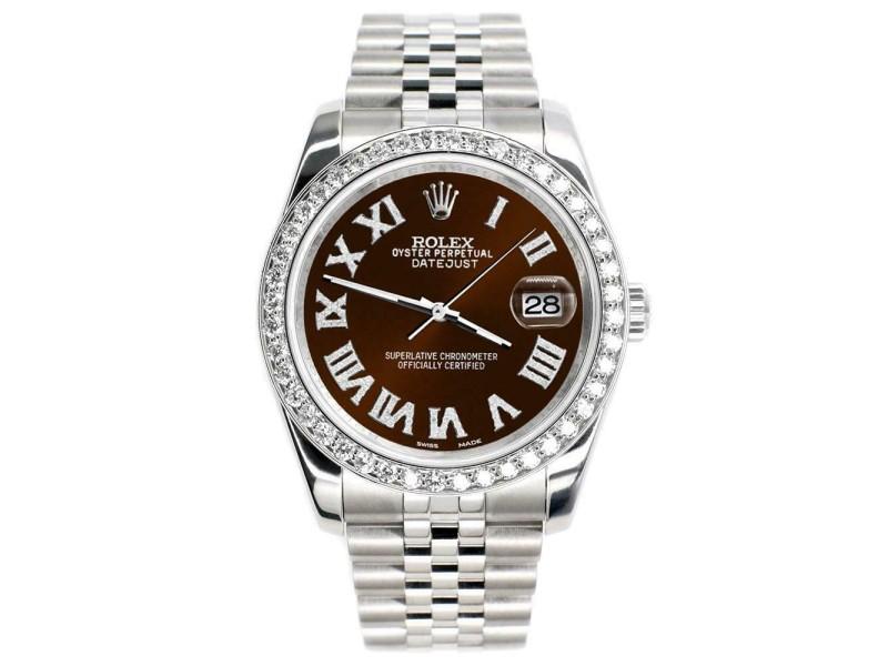 Rolex Datejust 116200 36mm 2.0ct Diamond Bezel/Chocolate Roman Dial Steel Watch