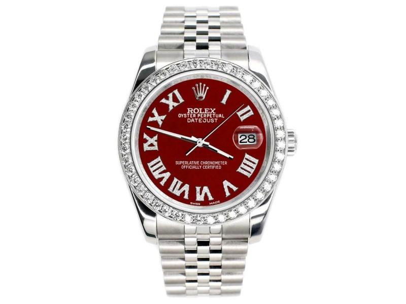 Rolex Datejust 116200 36mm 2ct Diamond Bezel/Imperial Red Roman Dial Steel Watch