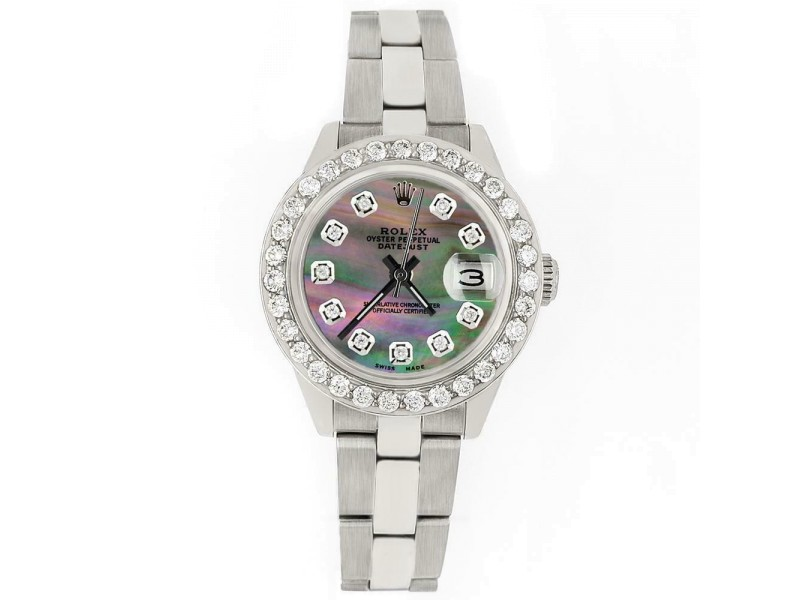 Rolex Datejust 26mm Steel Watch 1.3ct Diamond Bezel/Tahitian MOP Diamond Dial