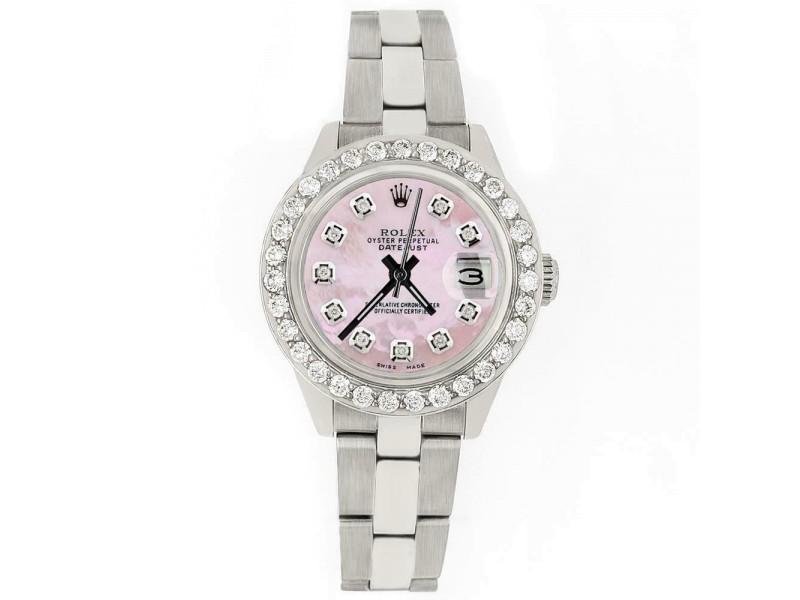Rolex Datejust 26mm Steel Watch 1.3ct Diamond Bezel/Pink MOP Diamond Dial