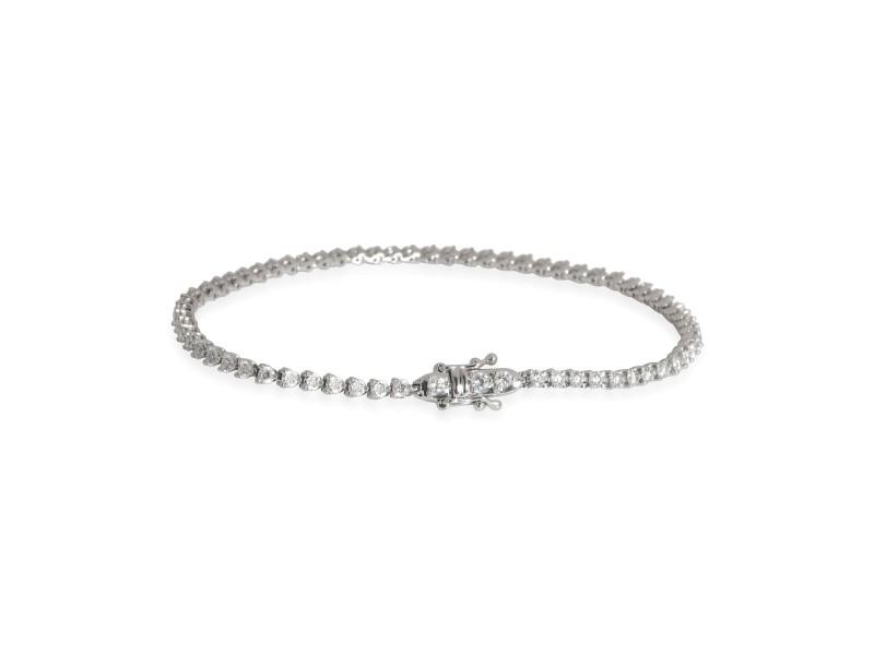 Three Prong Diamond Tennis Bracelet in 18K White Gold 1.91 CTW