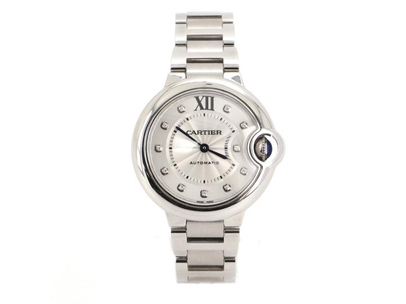 Cartier Ballon Bleu de Cartier Automatic Watch Stainless Steel with Diamond Markers 33