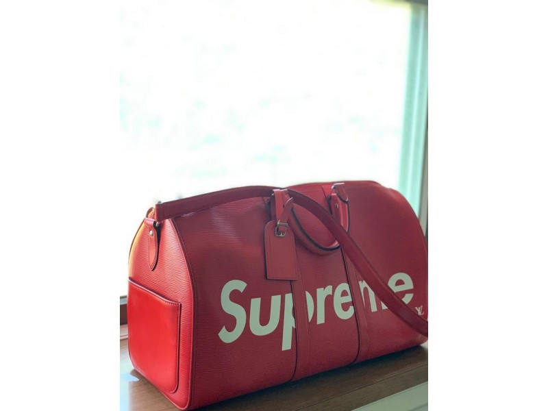 Louis Vuitton x Supreme LV Supreme Red Epi Keepall Bandouliere 45 with Strap