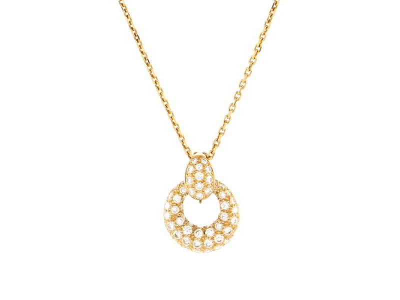 Van Cleef & Arpels Interchangeable Round Pendant Necklace 18K Yellow Gold with Diamonds