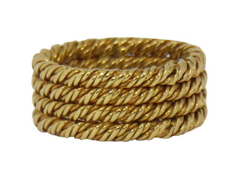 Tiffany and Co Vinatge Four Row Twisted Rope Gold Band