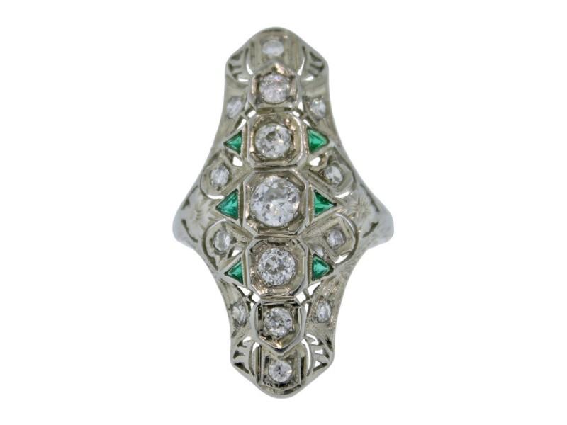 20K White Gold & 0.94ct Diamond Emerald Engagement Ring