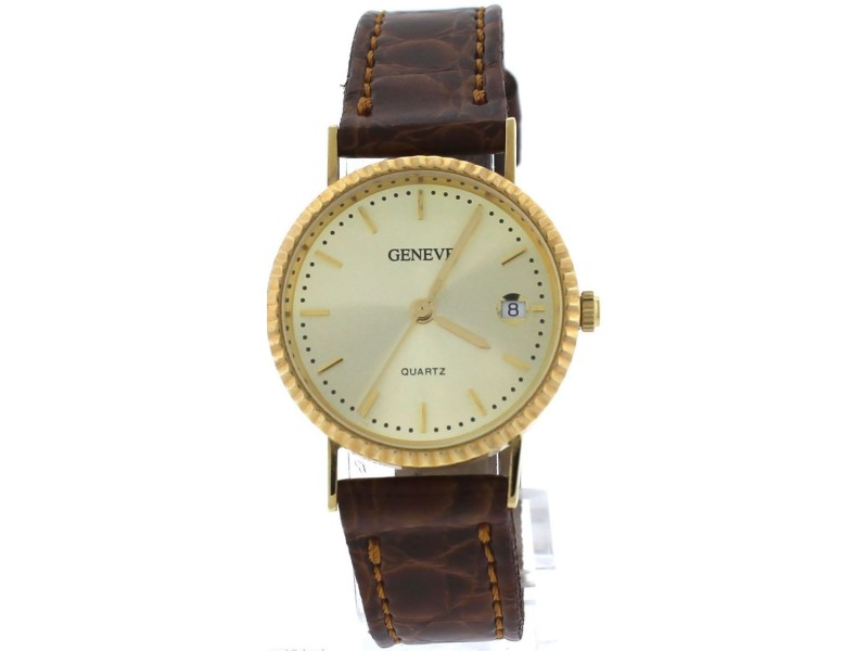 Geneve M 14K Yellow Gold Brown Italian Leather Vintage Watch