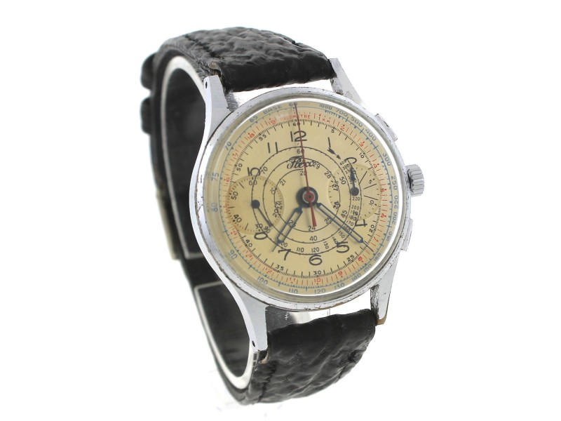 Fleco Britix Chronograph 654 17-Jewel Stainless Shark Vintage Watch