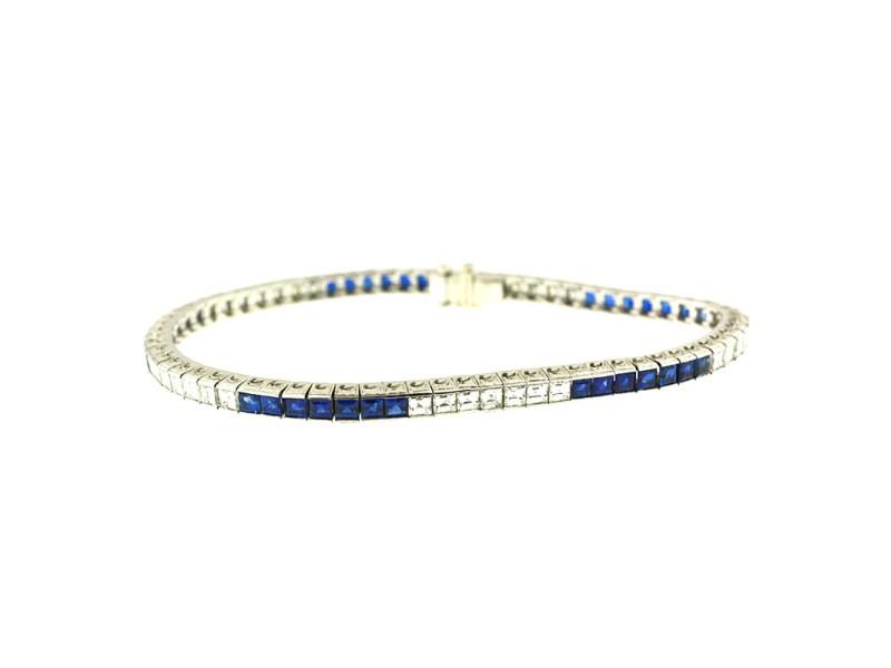 Tiffany & Co Platinum Diamond Blue Sapphire Line Bracelet