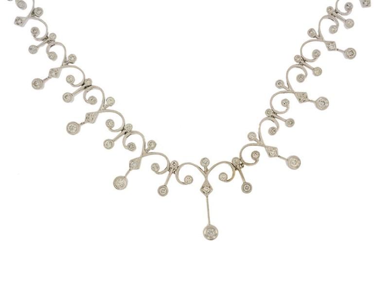 18K White Gold Full Diamond Necklace
