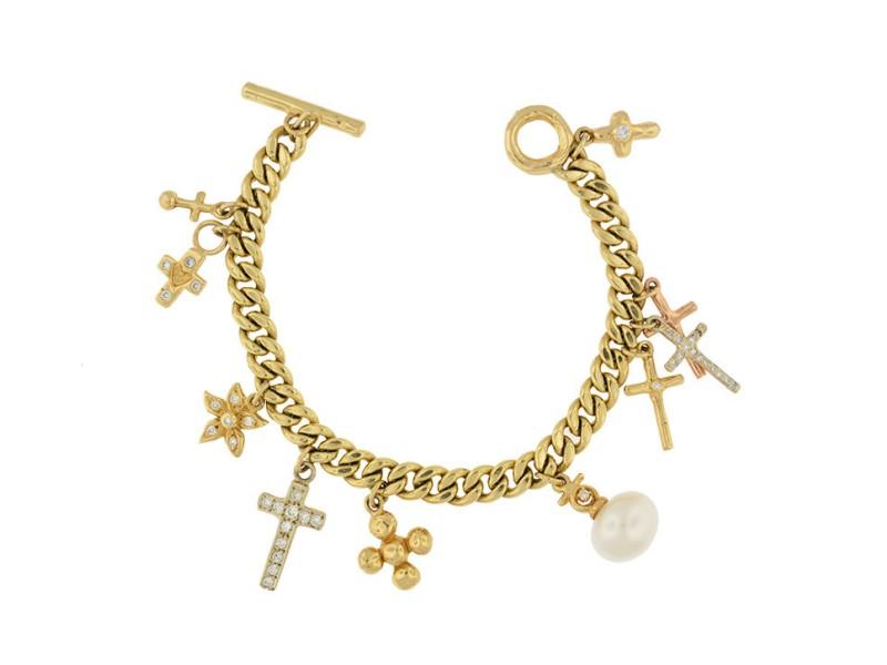 14K Charms Religious Cross Diamond Chain Bracelet