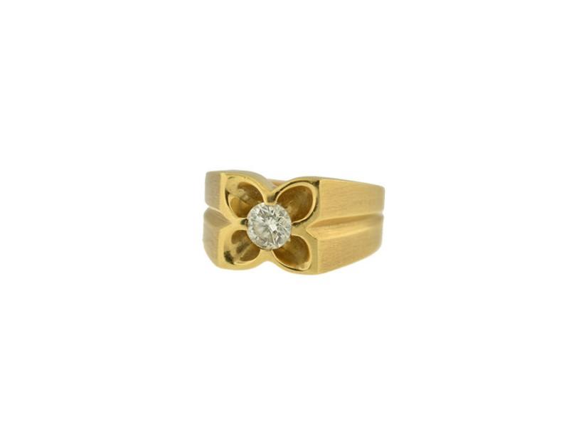 14K Yellow Brushed Gold Diamond Ring