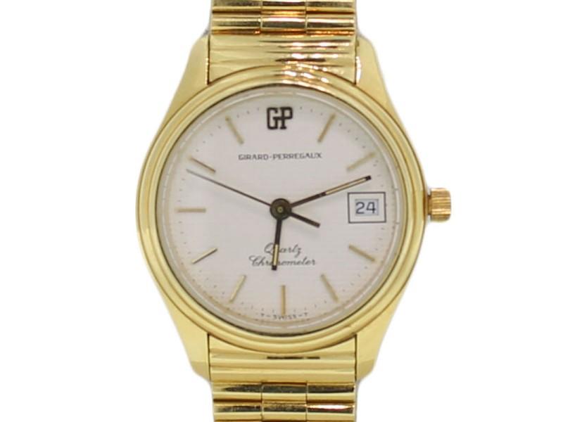 Girard-Perregaux Quartz Solid 18k Yellow Gold & Band Chronometer Date 26mm Watch