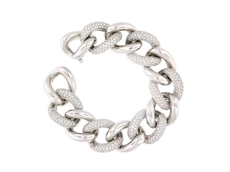 18K White Gold 15.5 Ct Diamonds Curb Link Bracelet