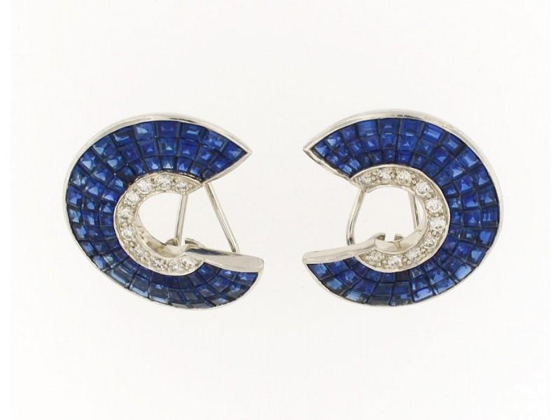 Platinum Sapphire And Diamond Clip On Earring