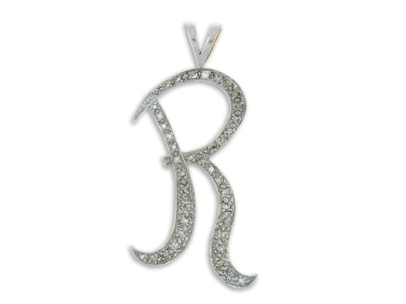 "14K White Gold & Diamonds ""r"" Pendant"