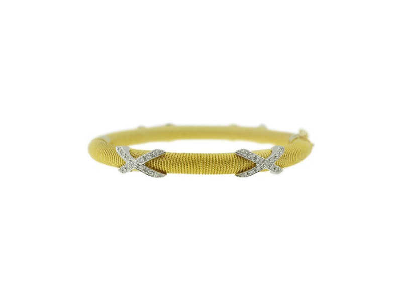 14K Yellow Gold And Diamond Rope Bangle