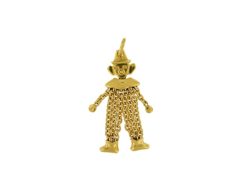 14K Yellow Gold Italian Clown Pendant