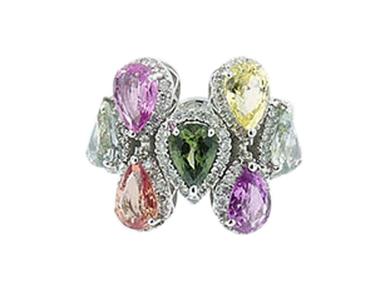 18K White Gold Multicolored Sapphire And Diamond Ring