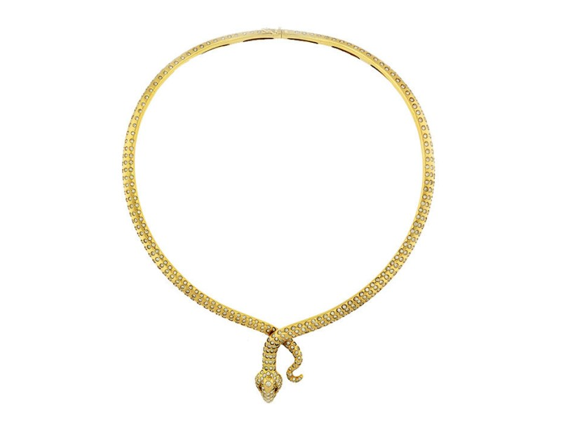 14K Yellow Gold and Diamond Snake Collar Necklace