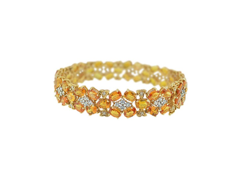 18K Yellow Gold Diamond And Citrine Quartz Floral Bracelet