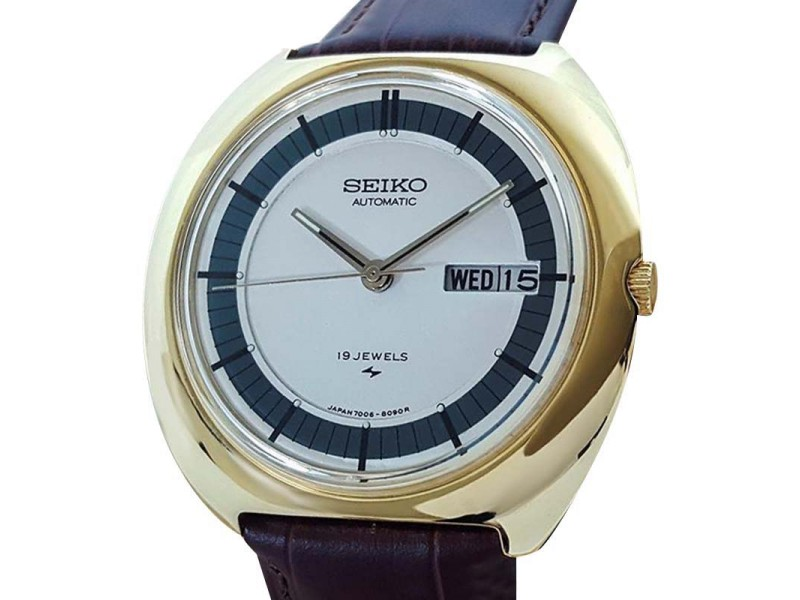 Seiko 7006 8029 Gold Plated Japanese Automatic Vintage 1970s Watch