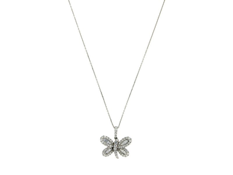 18K White Gold 0.74 Ct Diamond Butterfly Pendant Necklace