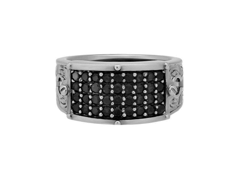 Stephen Webster 925 Sterling Silver Black Rhodium Plated Black Sapphire Ring Size10