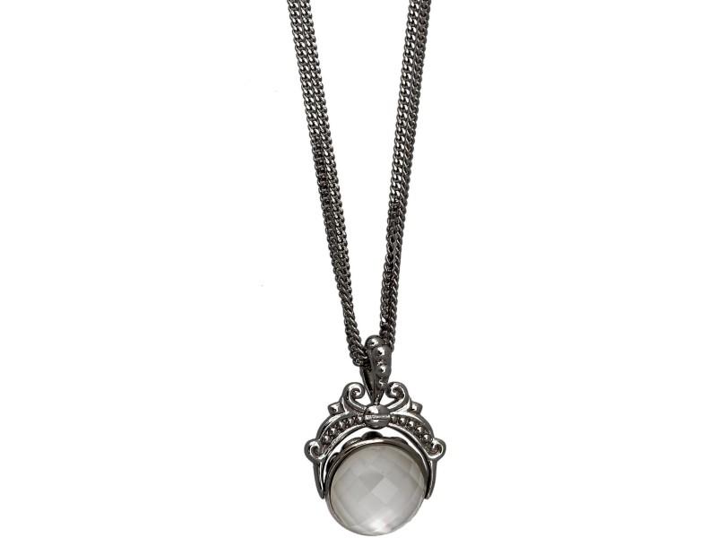 Stephen Webster 925 Sterling Silver Black White Crystal Haze Reversible 3 Strand Necklace