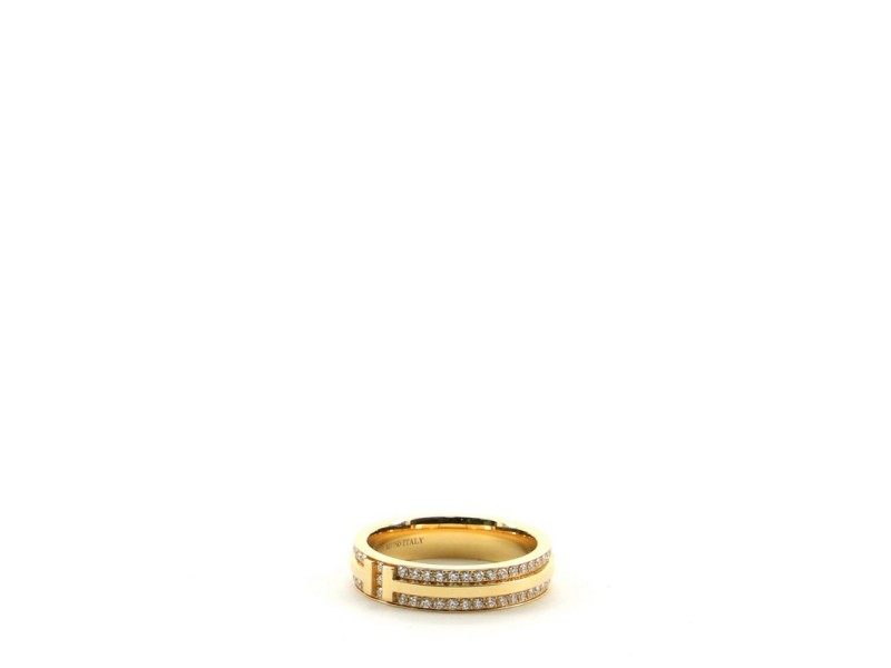 Tiffany & Co. T Two Narrow Ring 18K Yellow Gold and Diamonds