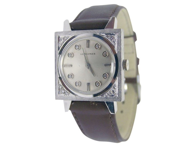 Longines 14K White Gold / Leather Vintage 25.5mm Unisex Watch