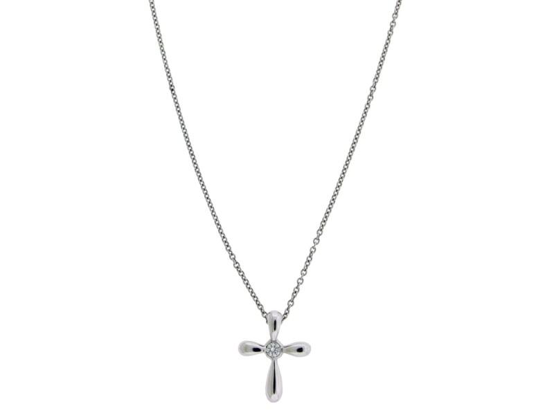 7bcc8d227 Tiffany & Co. Elsa Peretti Platinum 0.05ct Diamond Cross Necklace ...