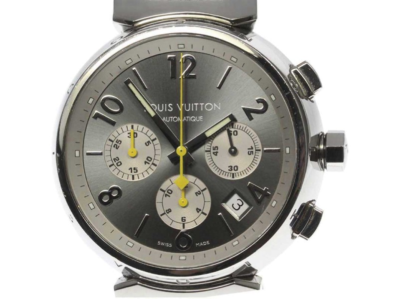 Louis Vuitton Tambour Q1120 Stainless Steel/Leather Belt Automatic 41mm Mens Watch