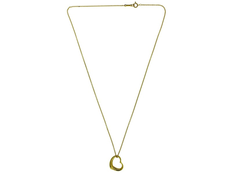 Tiffany & Co. Elsa Peretti 18K Yellow Gold with Diamond Heart Pendant Necklace