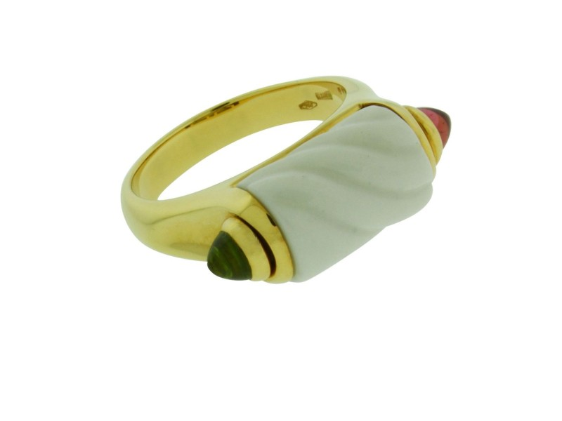 Bulgari 18K Yellow Gold with White Ceramic Peridot & Pink Tourmaline Ring Size 6