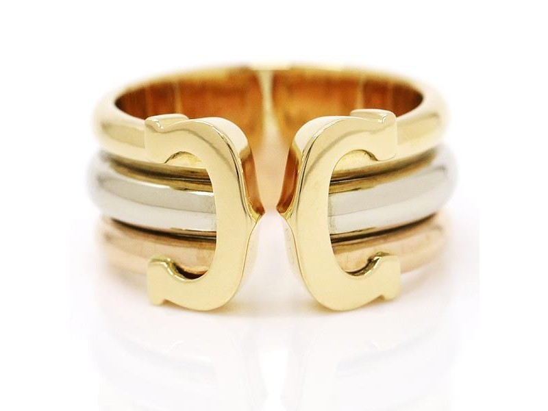 Cartier 18K Yellow, Pink & White Gold 2C Ring Size 5.5