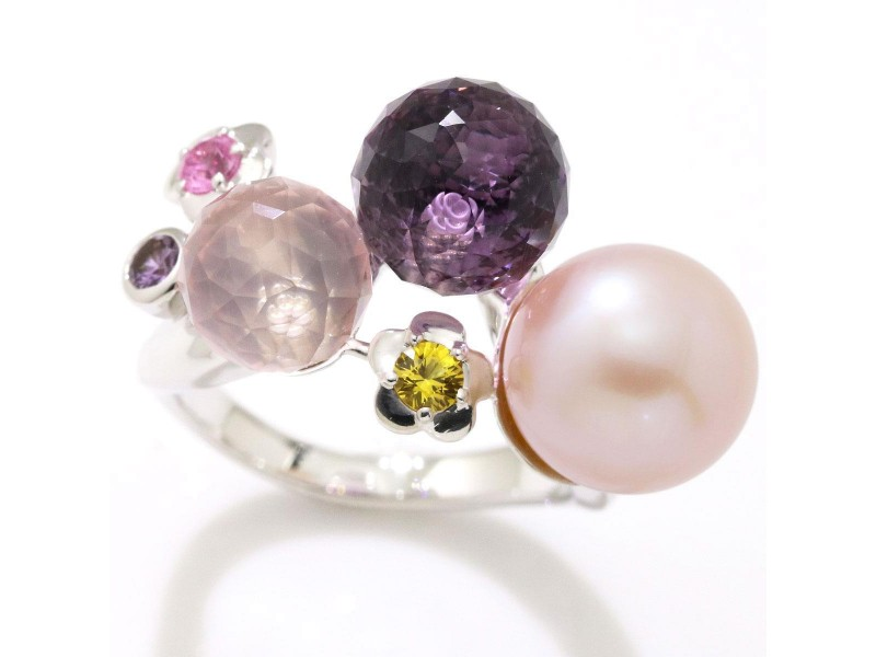 Chanel Mademoiselle 18K White Gold with Simulated Glass Pearl and Multi-Stone Ring Size 7.5