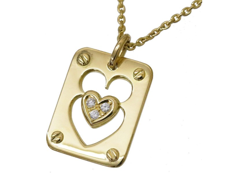 Christian Dior 18K Yellow Gold with Diamond Heart Motif Necklace