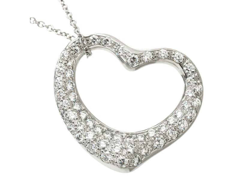 Tiffany & Co. 950 Platinum & Diamond Open Heart Pendant Necklace
