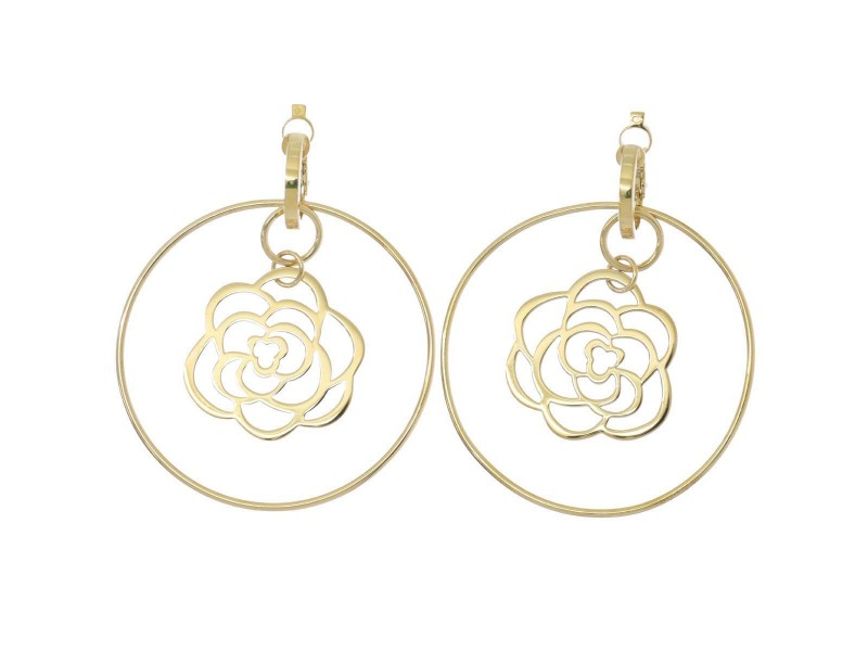 Chanel 18K Yellow Gold Camellia Earrings