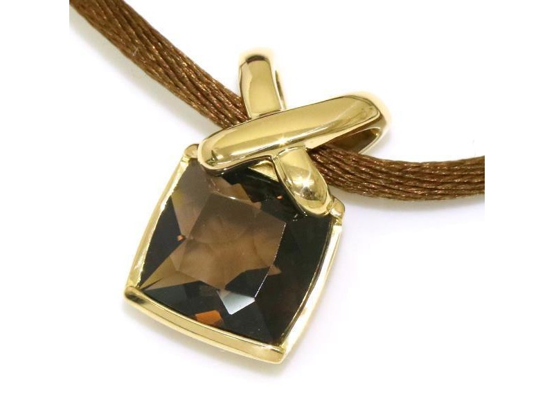 Chaumet Liens 18K Yellow Gold with Smoky Quartz Pendant Necklace