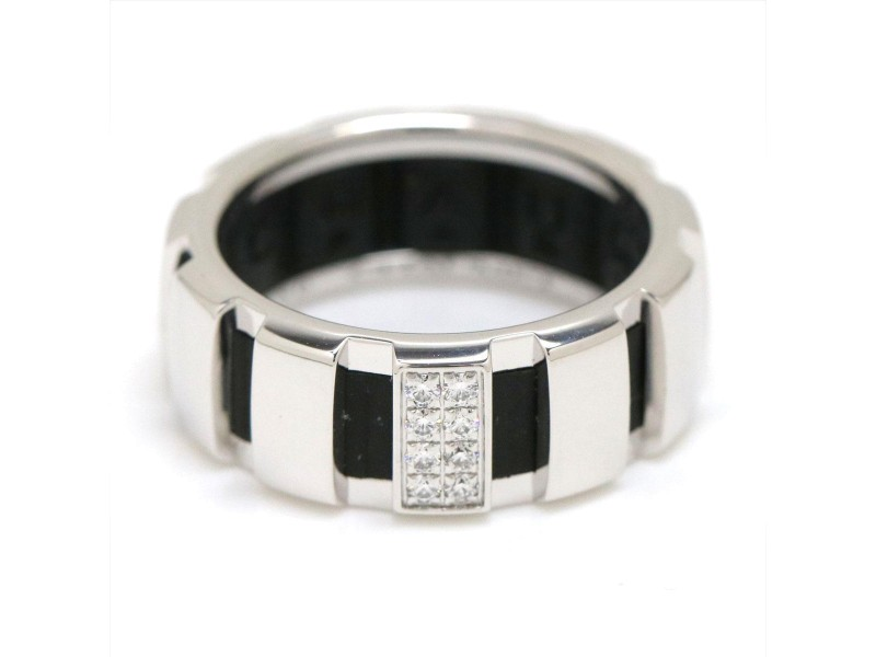 Chaumet Class One 18K White Gold & Rubber with Diamond Ring Size 5.25