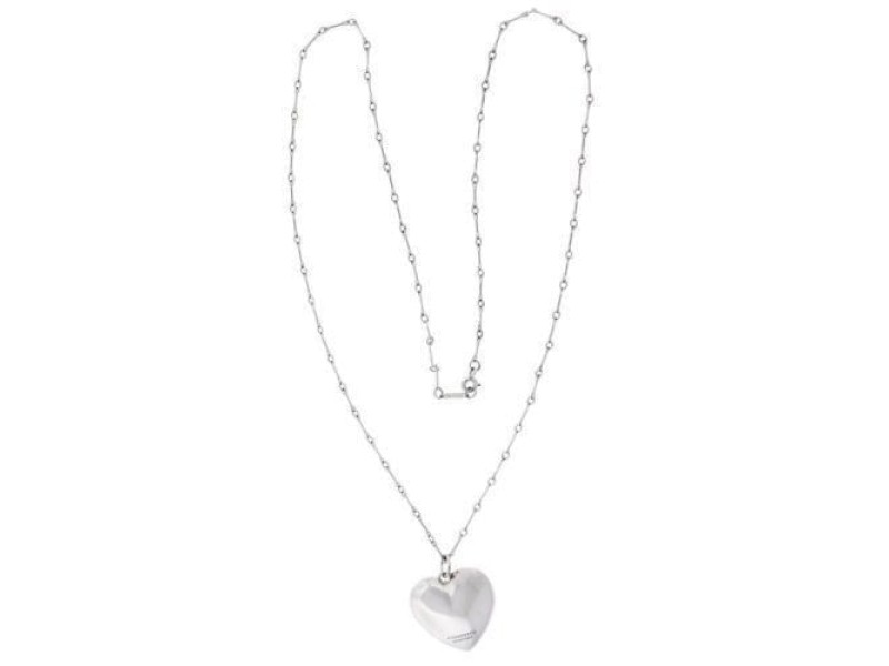 Tiffany & Co. 925 Sterling Silver Puffed Heart Pendant Necklace