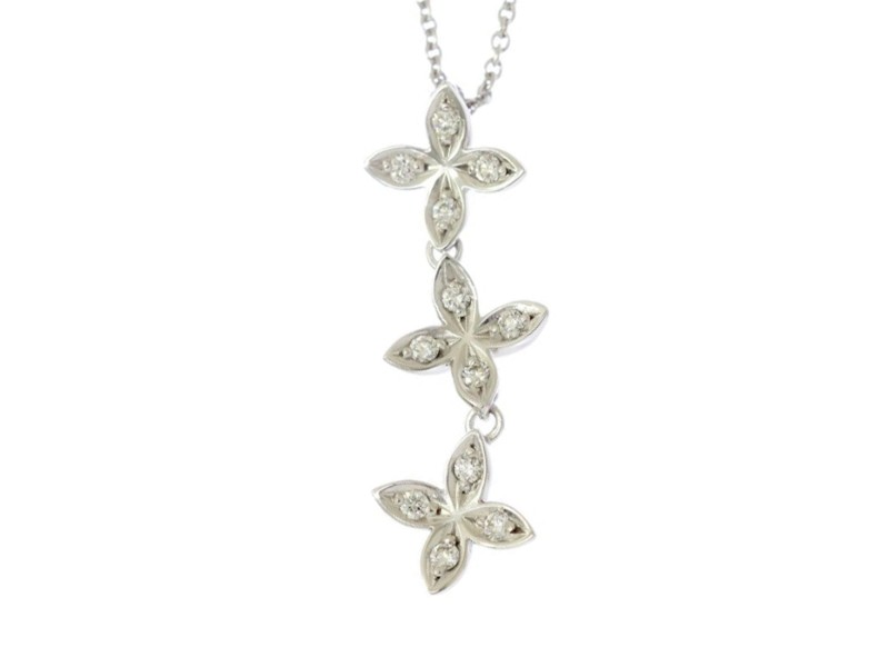 Mikimoto 18K White Gold & 0.14ctw Diamond Flower Pendant Necklace